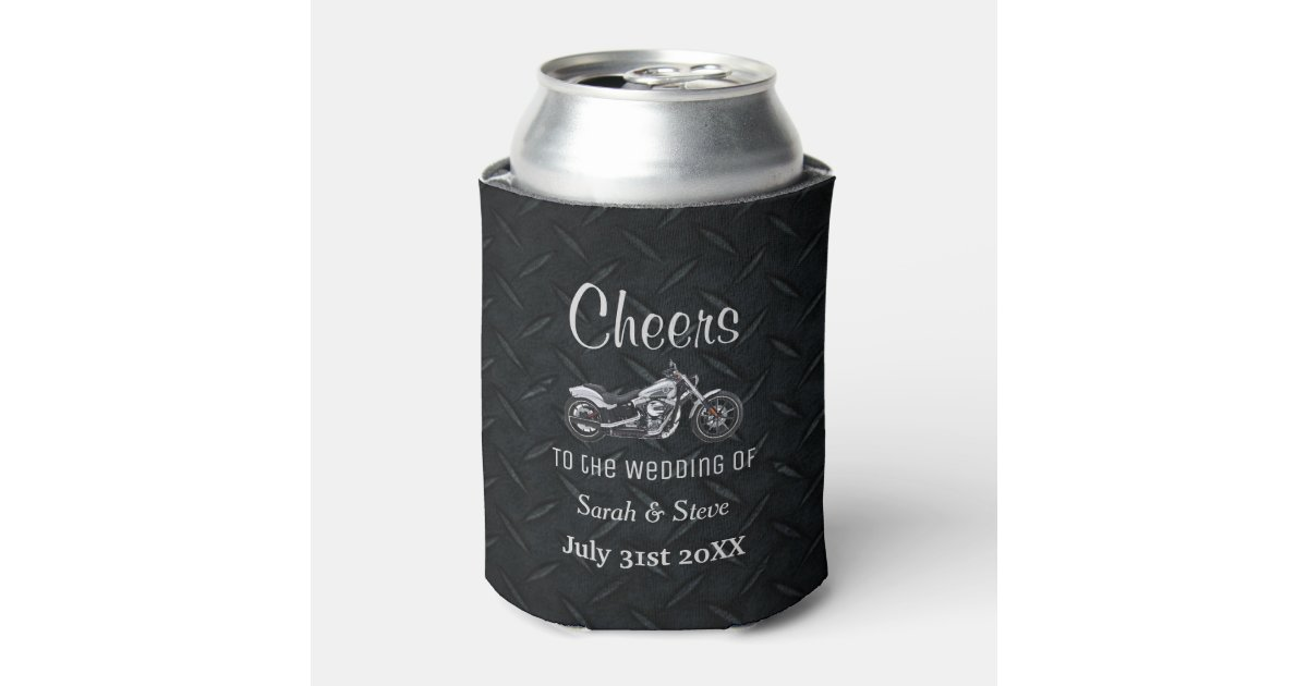 Motorcycle Themed Wedding Date Favors Can Cooler Zazzle