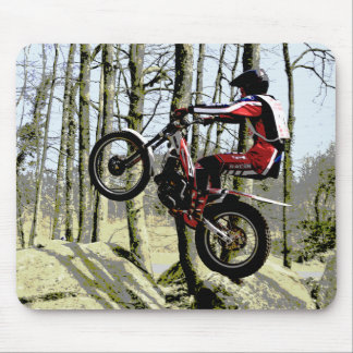 Motorcycle trials rider mouse pad