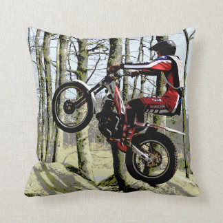 Motorcycle trials rider square cushion pillow
