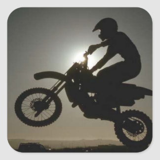 Motorcycle tricks square sticker