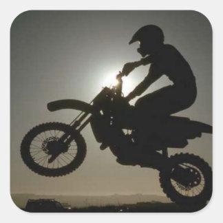 Motorcycle tricks square sticker