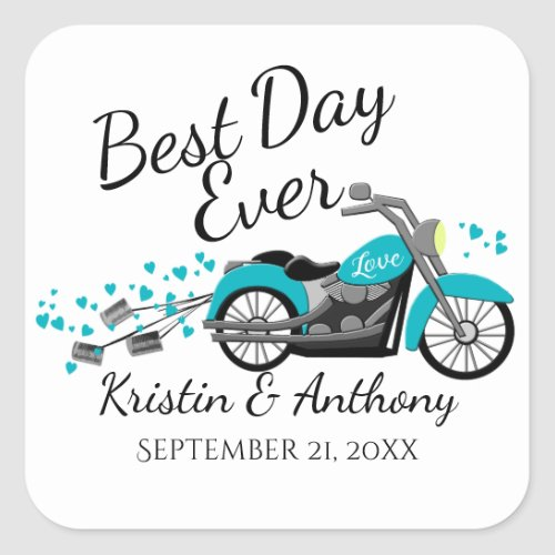 Motorcycle Wedding Aqua and Gray Square Sticker