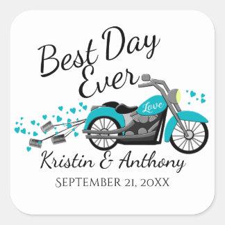 Motorcycle Wedding Aqua and Gray Square Sticker