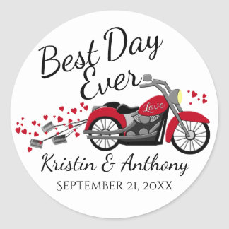 Motorcycle Wedding Red and Gray Classic Round Sticker
