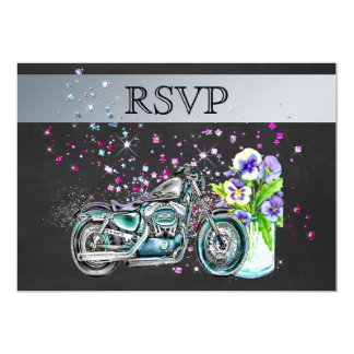 Motorcycle Wedding RSVP with Mason Jar Card