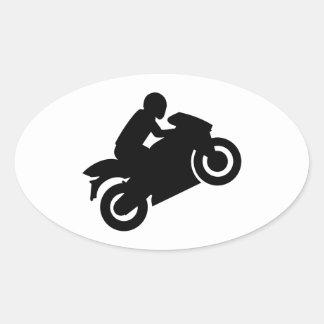 Motorcycle wheelie oval sticker