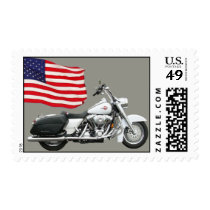Motorcycle with flag stamp