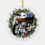 Motorcycle Wreath and Gifts Round Holiday Ornament