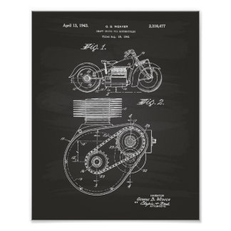 Motorcycles 1943 Patent Art Chalkboard Poster