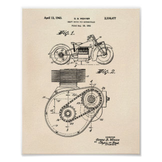 Motorcycles 1943 Patent Art Old Peper Poster