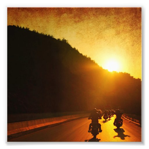 Motorcycles at Sunset Photograph