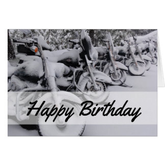 Motorcycles in Snow Winter Birthday Card for Biker
