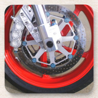 Motorcycles Motorcycle Wheel Red Rims Photo Beverage Coaster