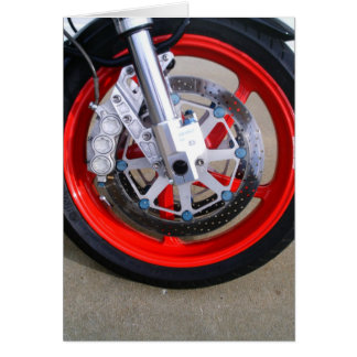 Motorcycles Motorcycle Wheel Red Rims Photo Greeting Card