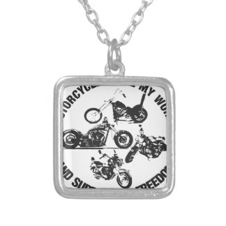 Motorcycles rule my world and support my freedom necklaces