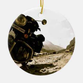 Motorcycling in Ladakh Ceramic Ornament