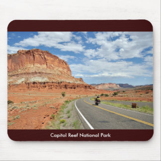 Motorcycling through Capitol Reef National Park Mouse Pad