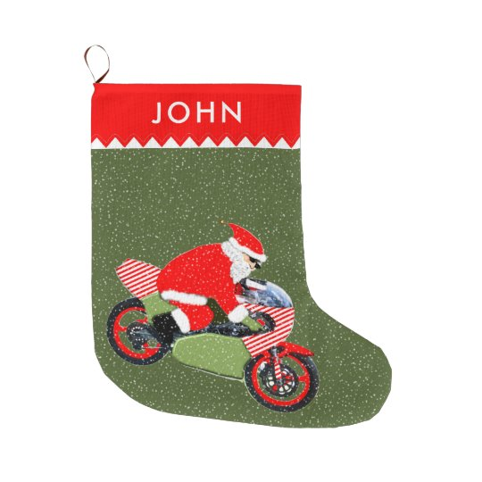 motorcyclist santa large christmas stocking - Large Christmas Stockings