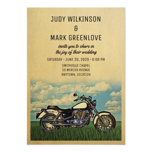 Motorcyle Wedding Invitation Vintage Biker Party