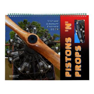 Motores de avión 2014 enorme del vintage calendarios de pared