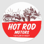 Motores retros del coche de carreras del kitsch etiqueta redonda