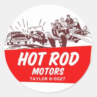 Motores retros del coche de carreras del kitsch pegatina redonda
