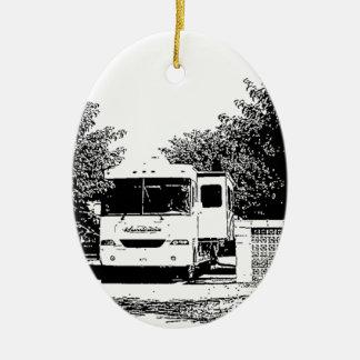 Motorhome in RV Park Ceramic Ornament