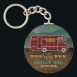 "Motorhome RV Camper Travel Van Rustic Personalized Keychain<br><div class=""desc"">This custom design with a rustic look is perfect for your home-away-from-home on wheels. It shows a red plaid motor home 