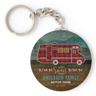 Motorhome RV Camper Travel Van Rustic Personalized Keychain