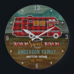 """Motorhome RV Camper Travel Van Rustic Personalized Large Clock<br><div class=""""desc"""">This custom design with a rustic look is perfect for your home-away-from-home on wheels. It shows a red plaid motor home 
