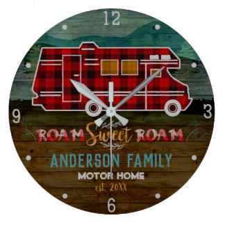 Motorhome RV Camper Travel Van Rustic Personalized Large Clock