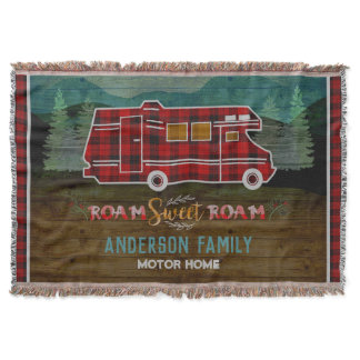 Motorhome RV Camper Travel Van Rustic Personalized Throw Blanket