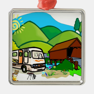 Motorhome RV: Life by the covered bridge Metal Ornament