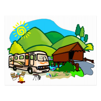 Motorhome RV: Life by the covered bridge Postcard
