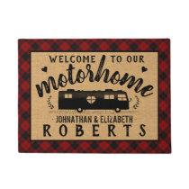Motorhome RV Rustic Red Plaid Farmhouse Custom Doormat