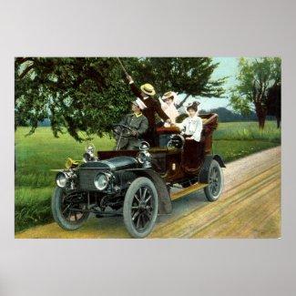 Motoring in 1910 Vintage print