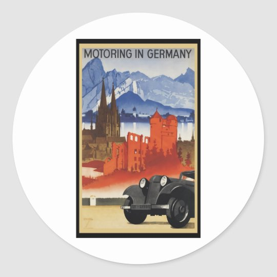 Motoring In Germany Classic Round Sticker