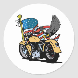 Motorista American Eagle Pegatina Redonda