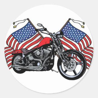 Motorista americano pegatina redonda