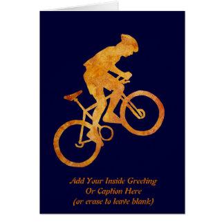Motorista anaranjado de oro de la montaña tarjeta de felicitación