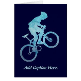 Motorista azul fresco tarjeta de felicitación