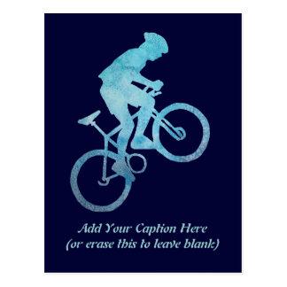 Motorista azul fresco tarjeta postal