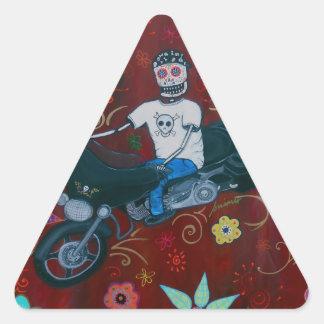Motorista de Dia de los Muertos Harley Pegatina Triangular