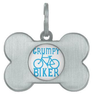 MOTORISTA de GRUMY con la bicicleta en azul Placa De Nombre De Mascota