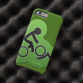 Motorista de la bicicleta de la montaña funda de iPhone 6 tough