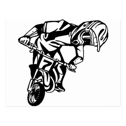 Motorista de la motocicleta del truco postal