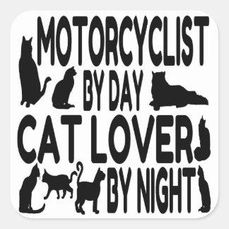 Motorista del amante del gato pegatina cuadrada