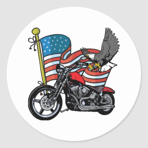 Motorista del americano de Eagle Pegatina Redonda