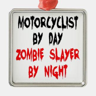 Motorista del asesino del zombi adorno navideño cuadrado de metal