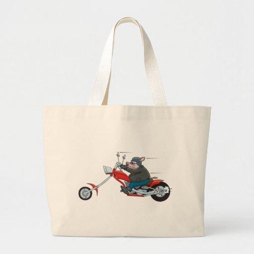 Motorista del cerdo bolsa tela grande